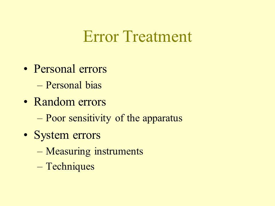 Error Treatment Personal errors Random errors System errors