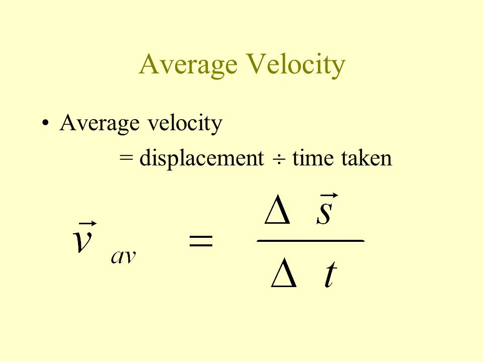 Average Velocity Average velocity = displacement  time taken