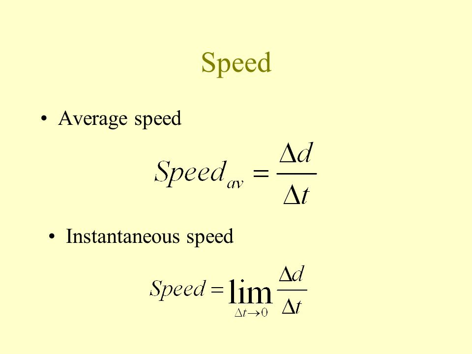 Speed Average speed Instantaneous speed