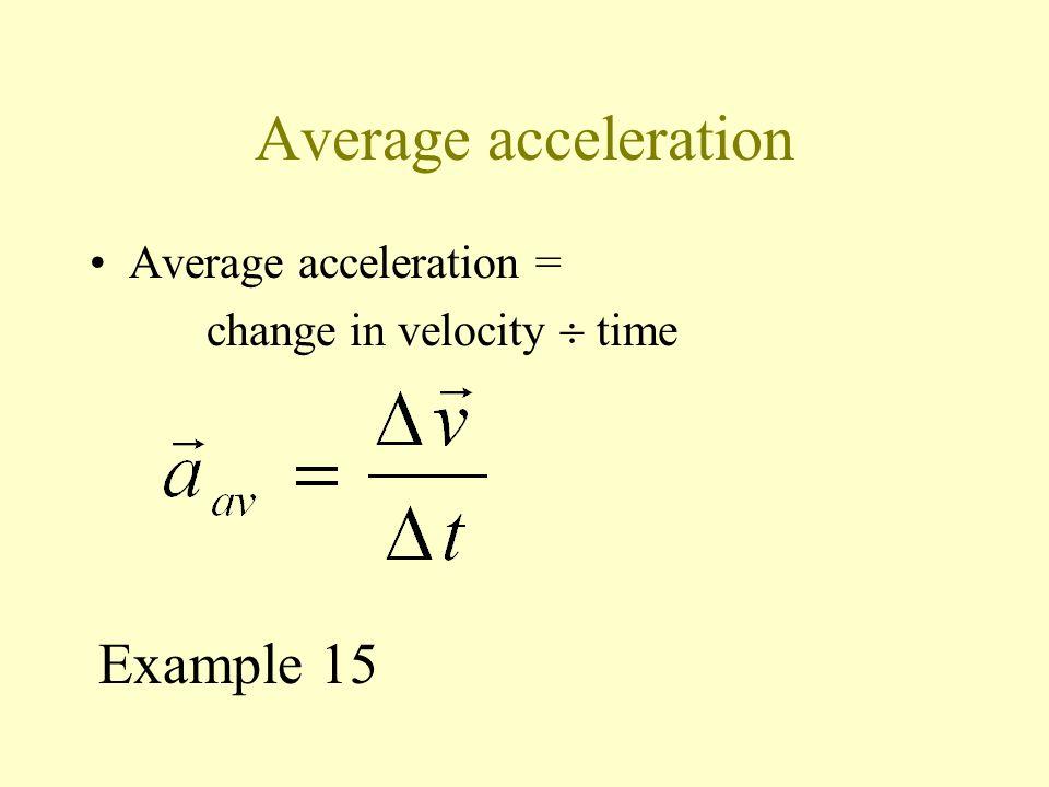 Average acceleration Example 15 Average acceleration =