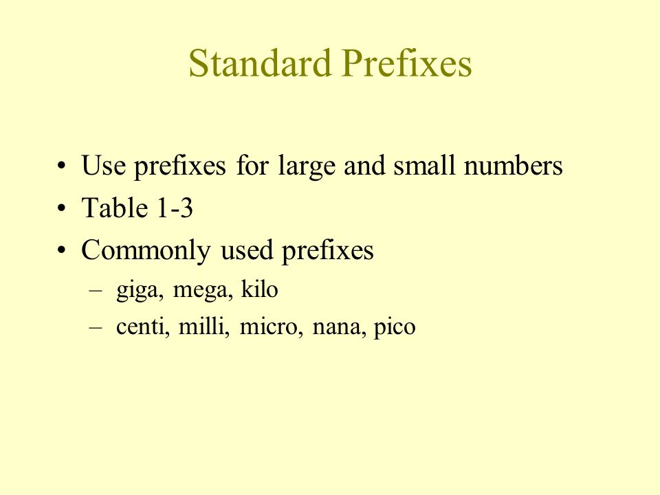 Standard Prefixes Use prefixes for large and small numbers Table 1-3