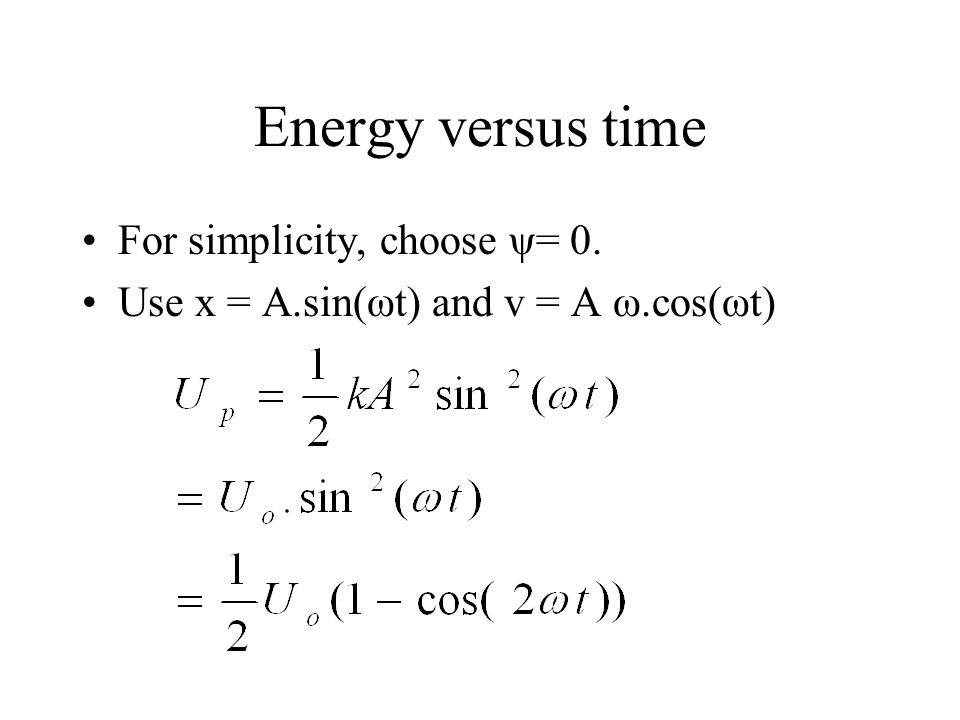 Energy versus time For simplicity, choose ψ= 0.