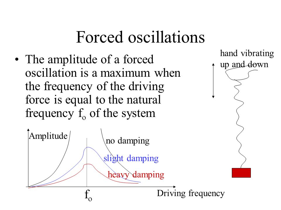 Forced oscillations hand vibrating. up and down.