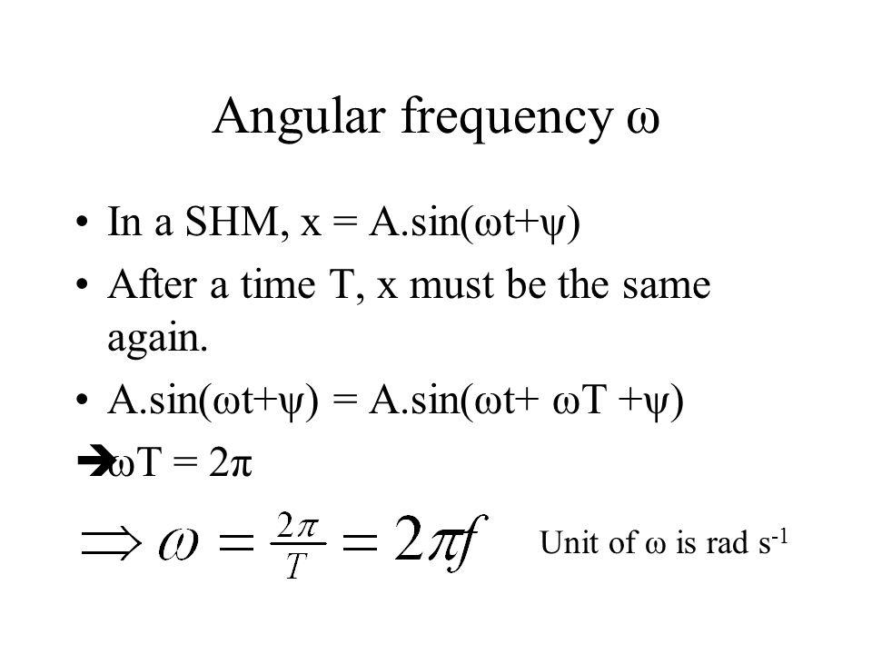 Angular frequency ω In a SHM, x = A.sin(ωt+ψ)
