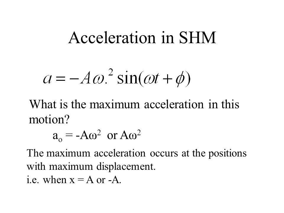 Acceleration in SHM What is the maximum acceleration in this motion