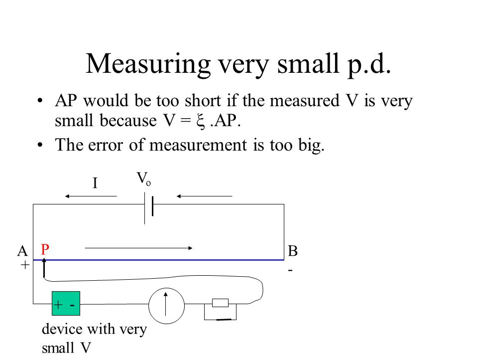 Measuring very small p.d.