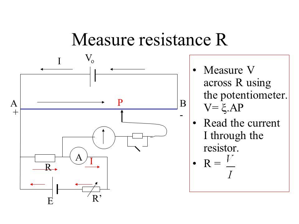 Measure resistance R A. B. I. + - P. Vo. R. E. R' Measure V across R using the potentiometer. V= ξ.AP.