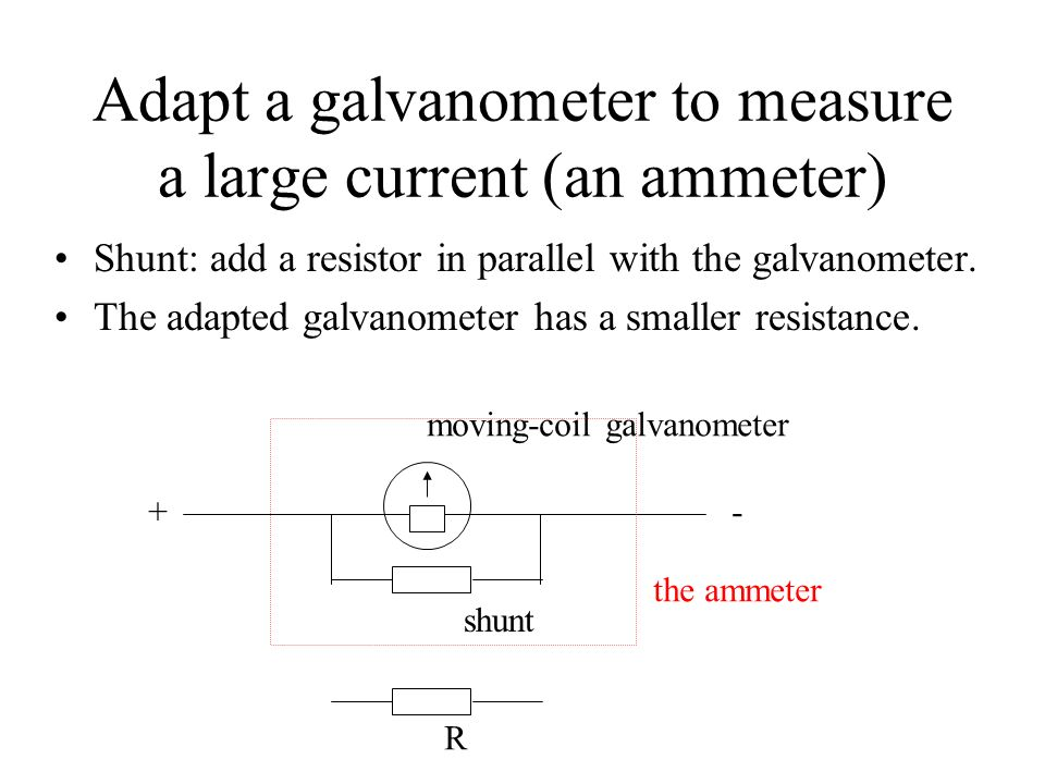 Adapt a galvanometer to measure a large current (an ammeter)