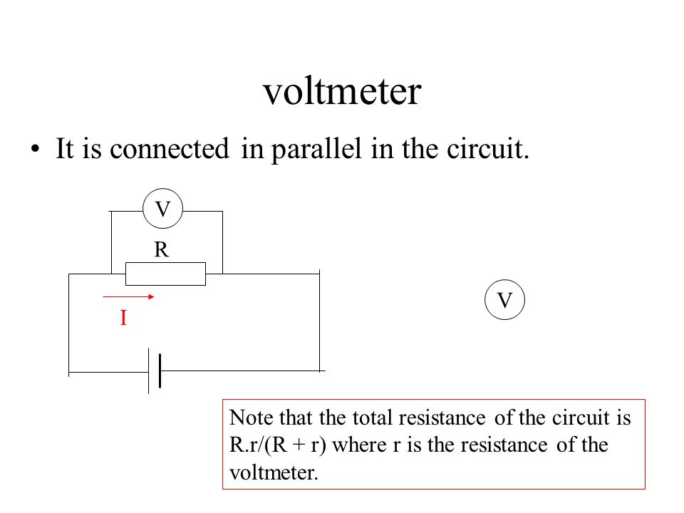 voltmeter It is connected in parallel in the circuit. V R V I