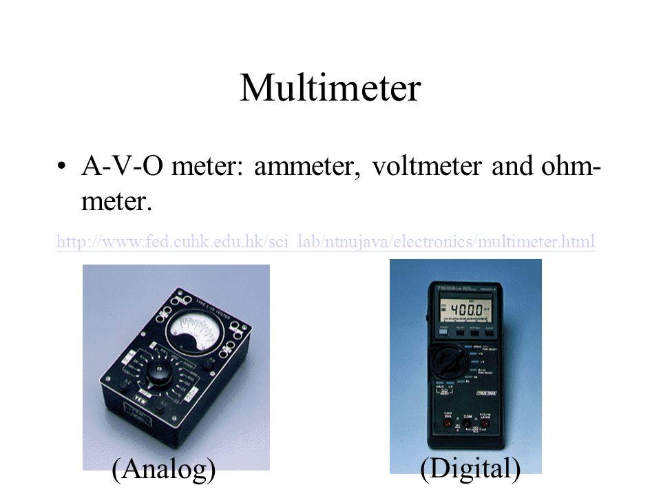 Multimeter A-V-O meter: ammeter, voltmeter and ohm-meter. (Analog)
