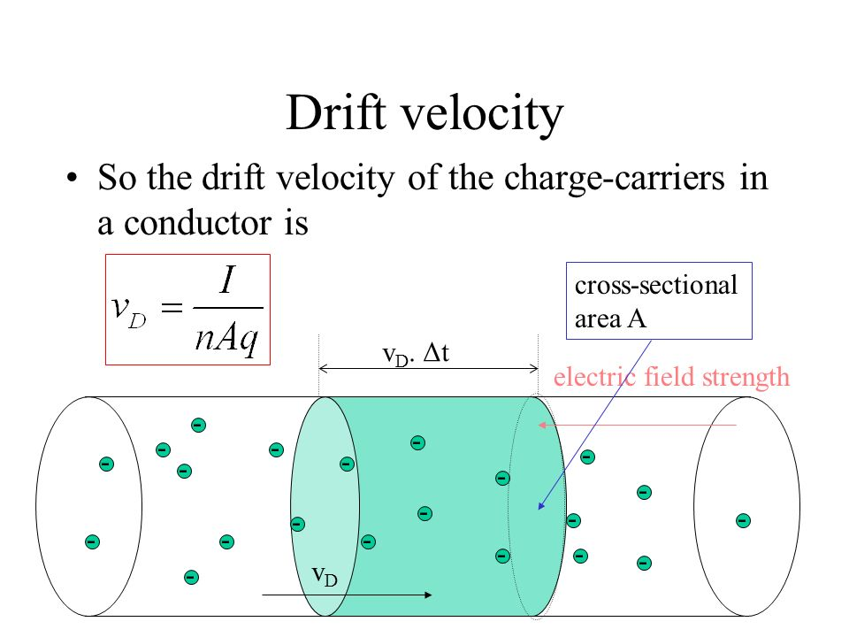 Drift velocity So the drift velocity of the charge-carriers in a conductor is. cross-sectional. area A.