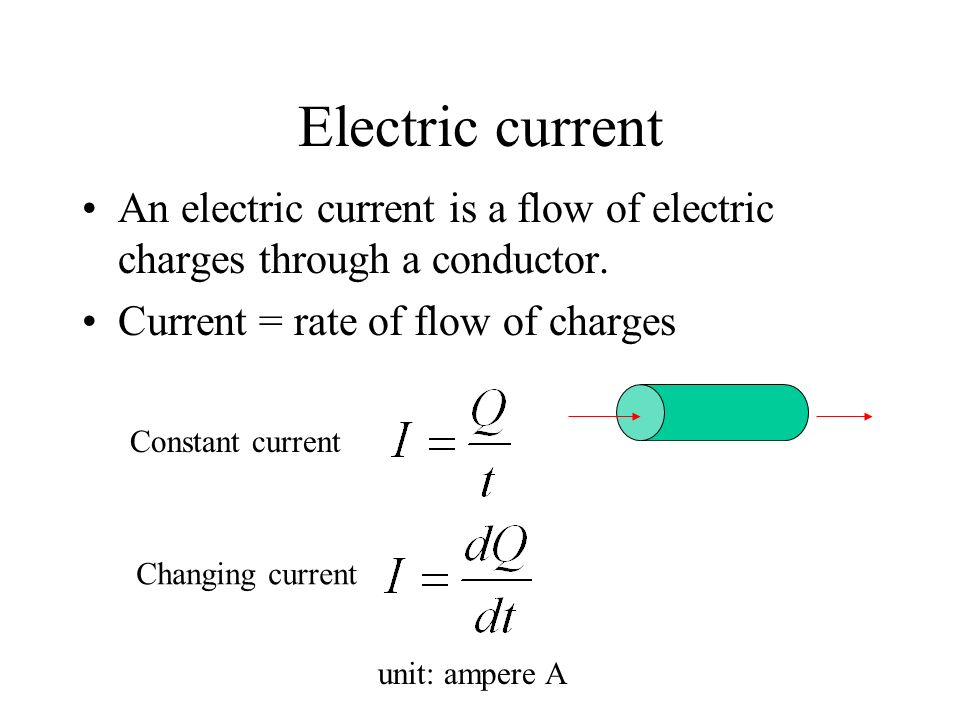 Electric current An electric current is a flow of electric charges through a conductor. Current = rate of flow of charges.