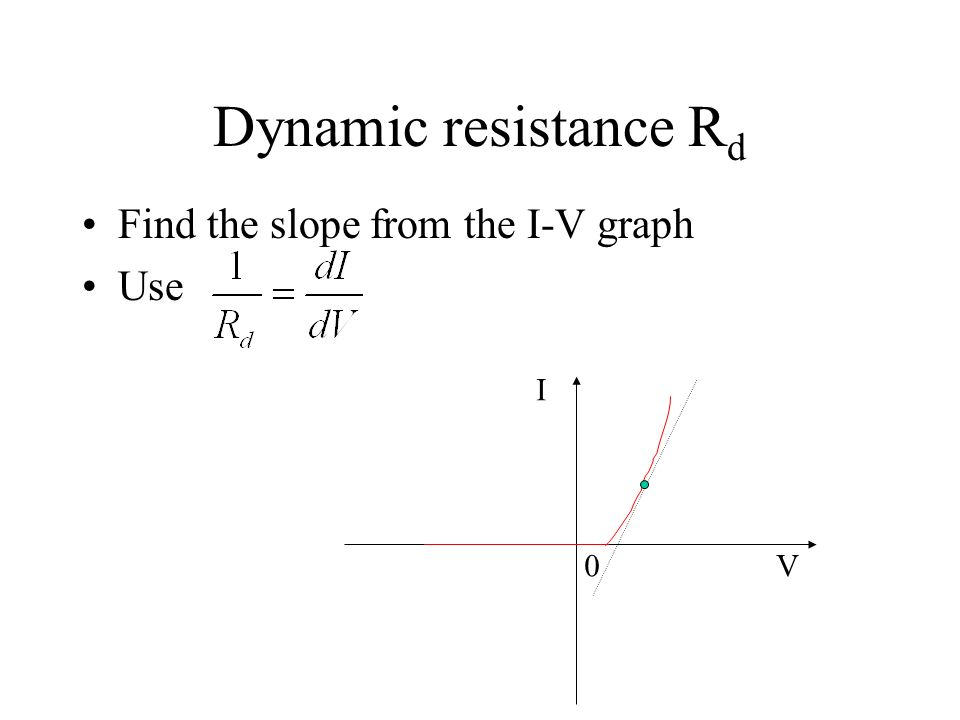 Dynamic resistance Rd Find the slope from the I-V graph Use I V