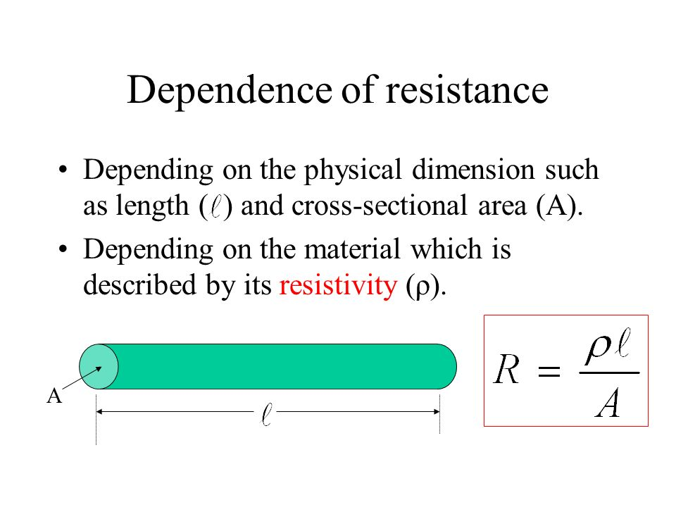 Dependence of resistance