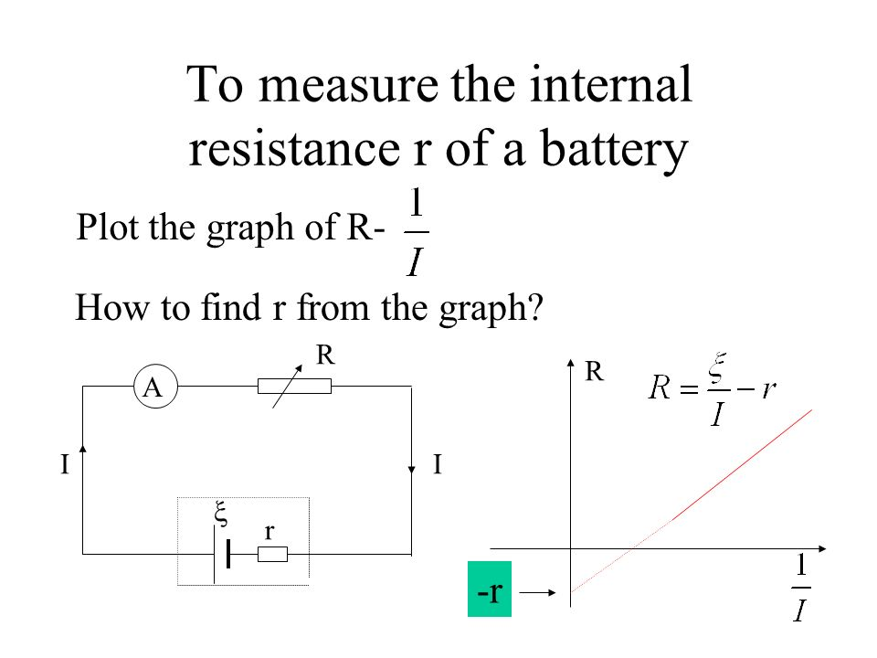 To measure the internal resistance r of a battery