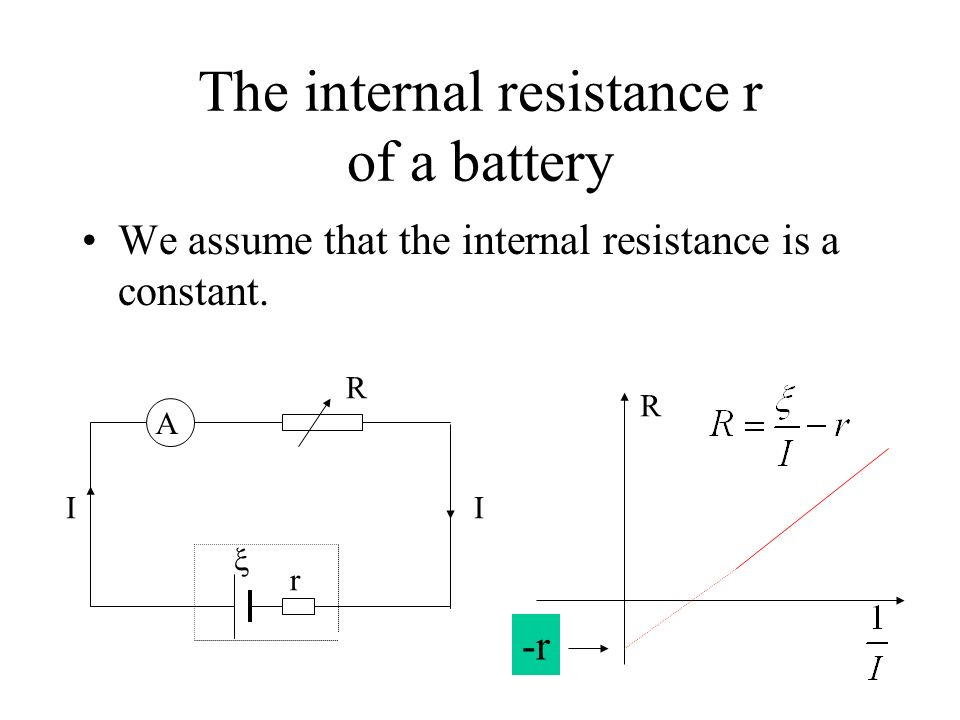 The internal resistance r of a battery