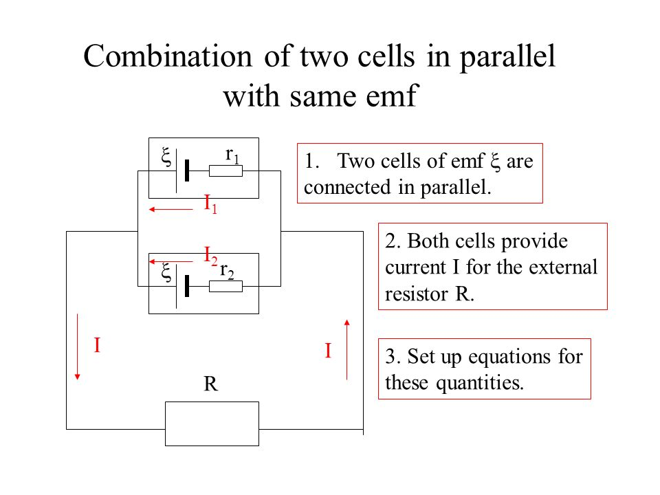 Combination of two cells in parallel with same emf