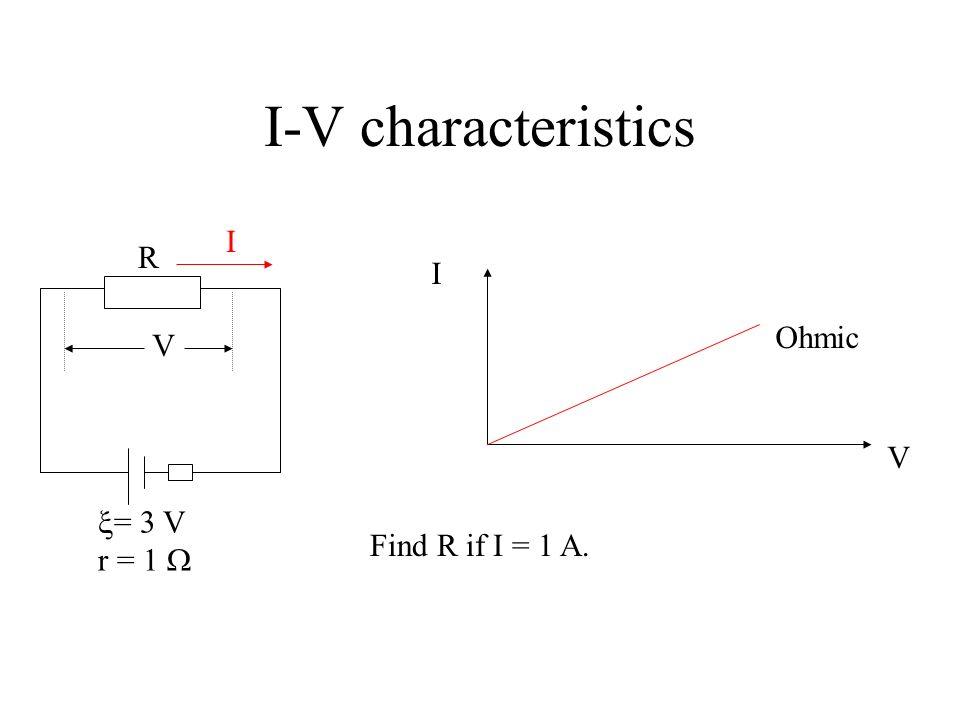 I-V characteristics I R I Ohmic V V = 3 V r = 1  Find R if I = 1 A.