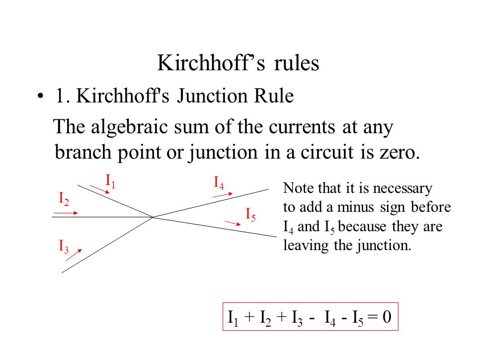 Kirchhoff's rules 1. Kirchhoff s Junction Rule