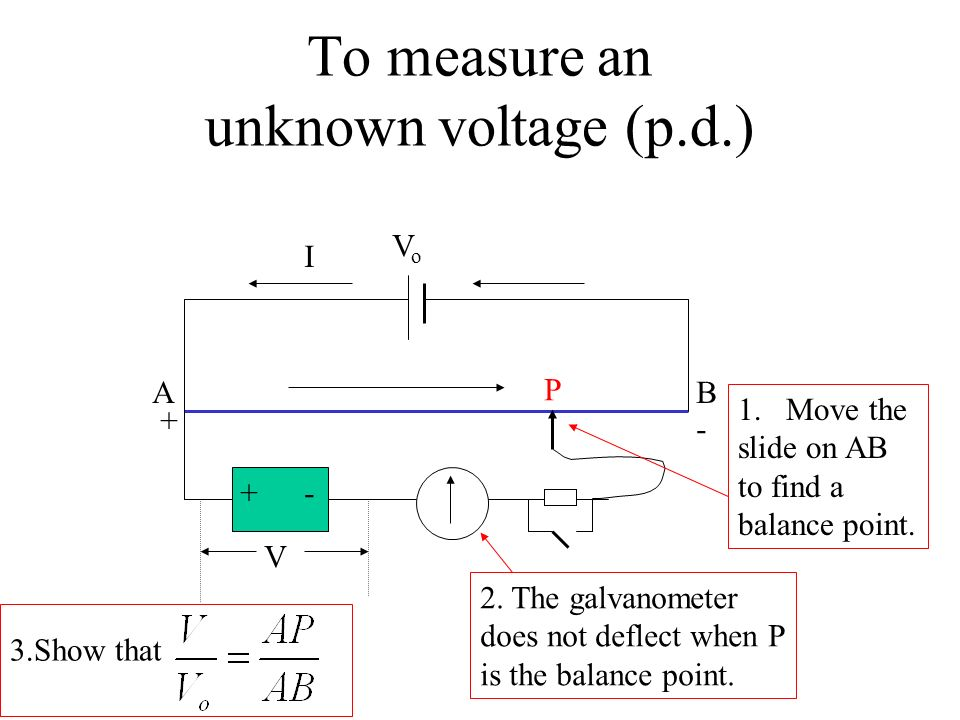 To measure an unknown voltage (p.d.)