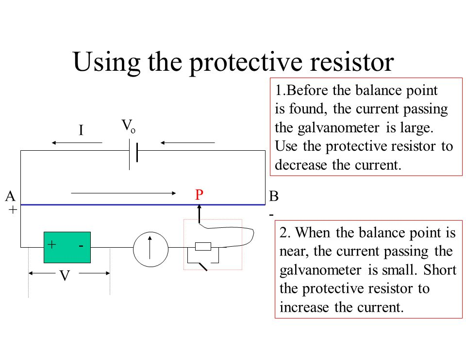 Using the protective resistor
