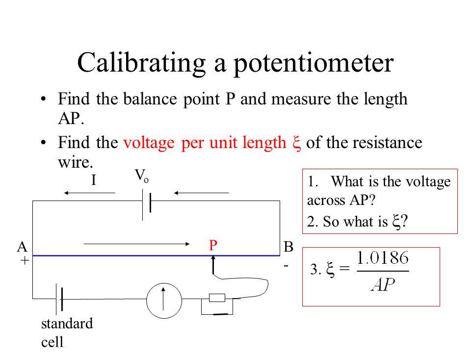 Calibrating a potentiometer