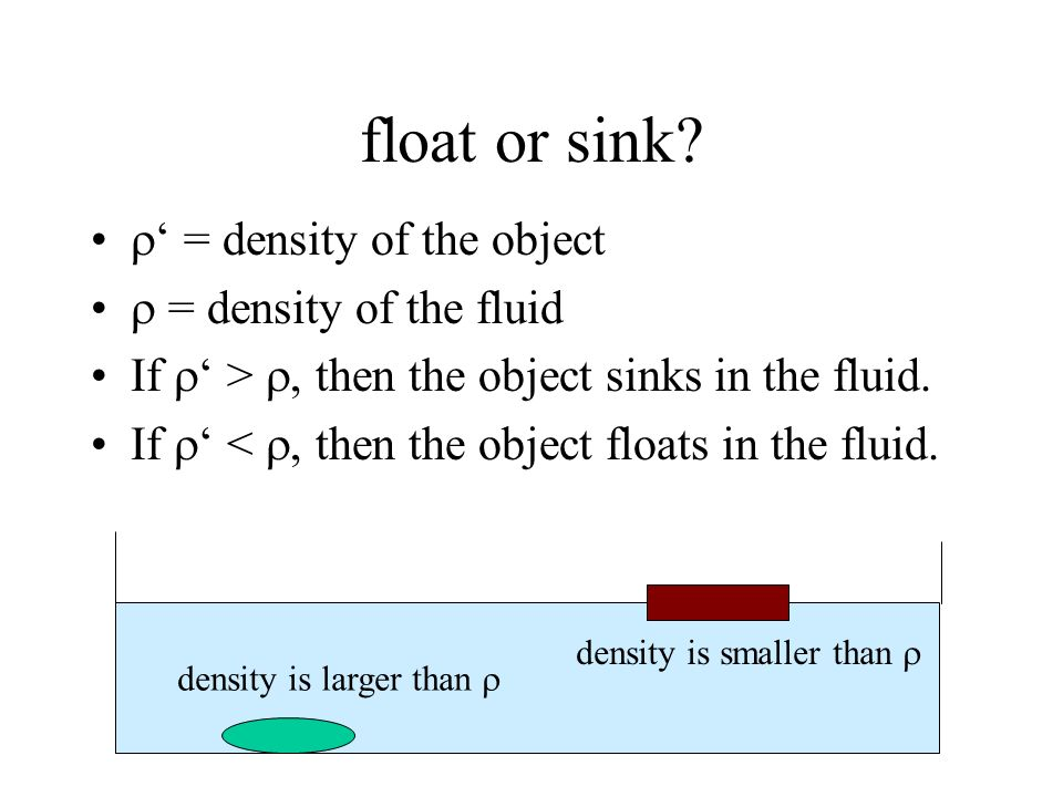 float or sink ' = density of the object  = density of the fluid