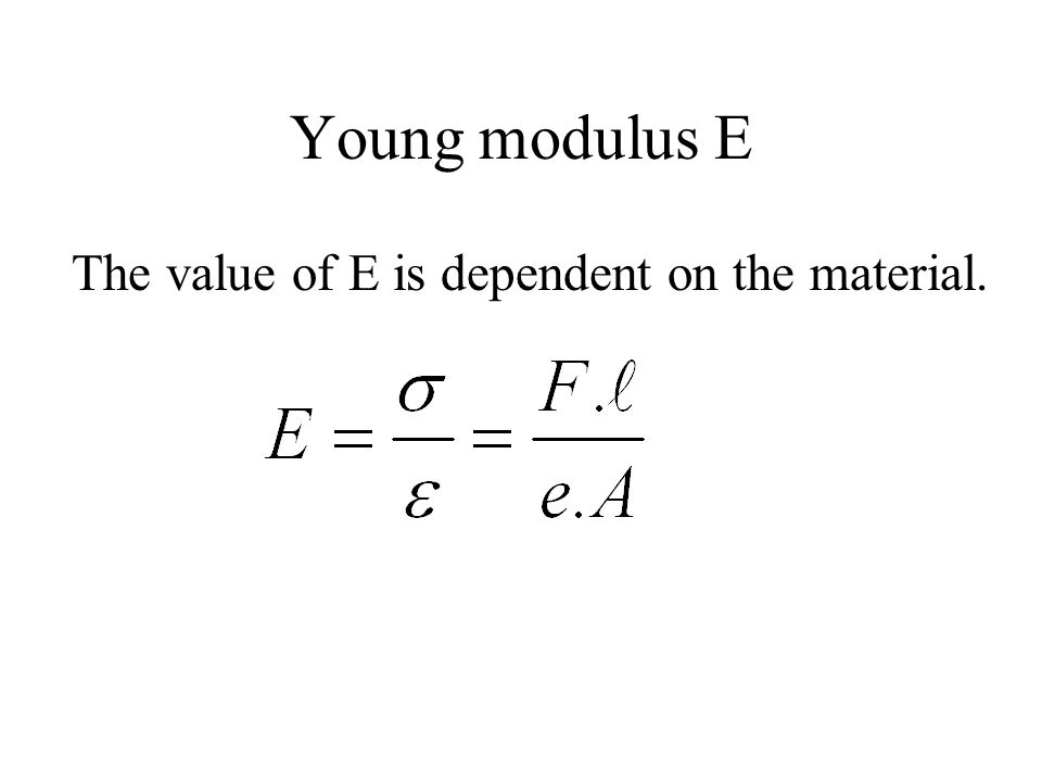 Young modulus E The value of E is dependent on the material.