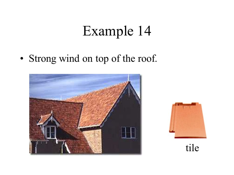 Example 14 Strong wind on top of the roof. tile