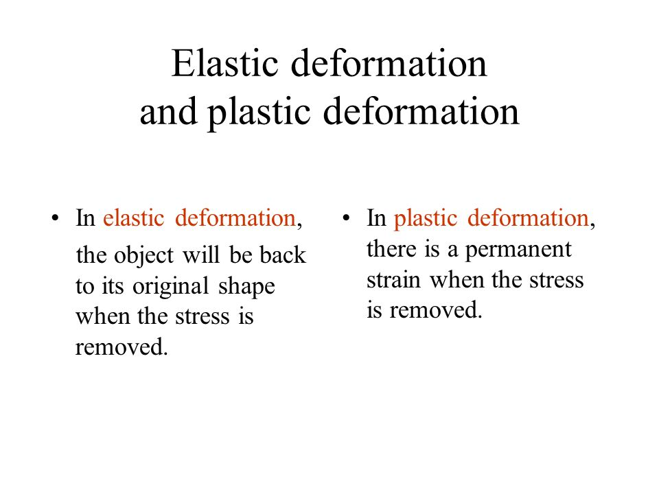 Elastic deformation and plastic deformation