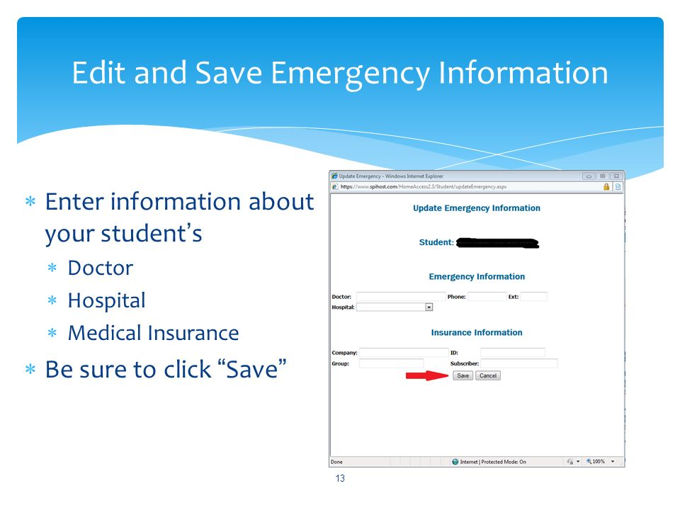 Edit and Save Emergency Information