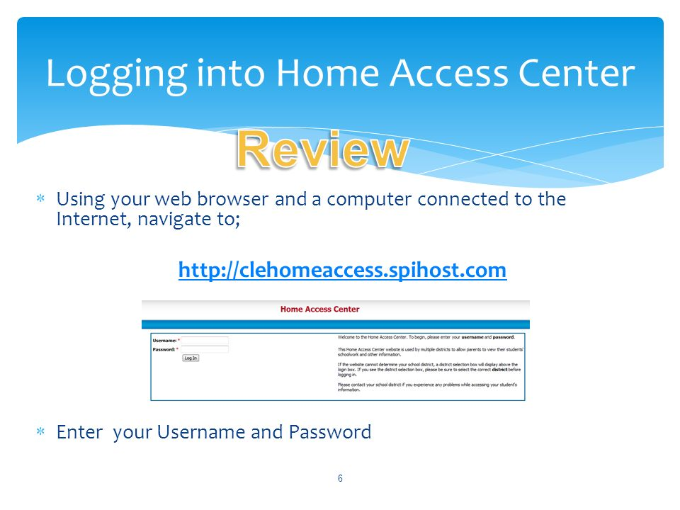 Logging into Home Access Center