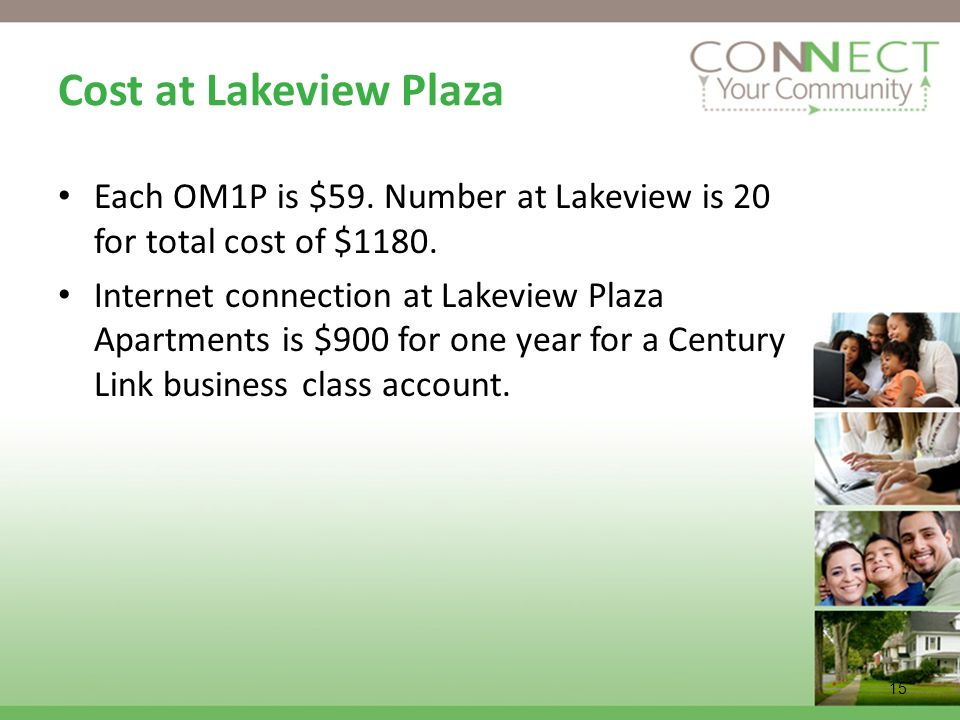 Cost at Lakeview Plaza Each OM1P is $59. Number at Lakeview is 20 for total cost of $1180.
