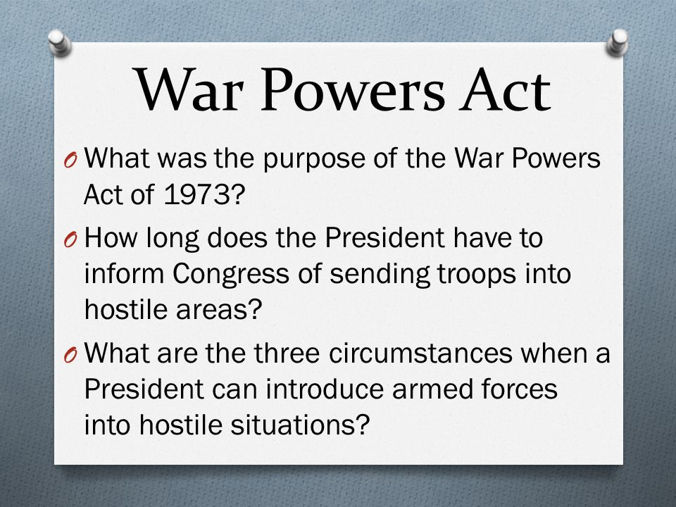 war powers act of 1973 The debate over whether president barack obama violated the 1973 war powers resolution, including the drama of outraged legislators condemning another president for disregarding this law, was predictable but the worse, the war powers act is dangerous to our troops and to our national security.