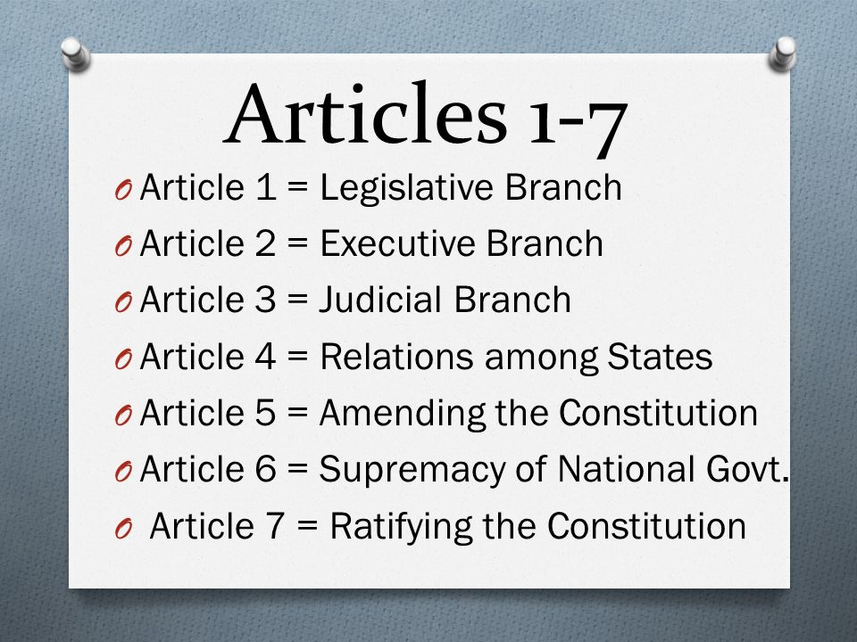 articles 1 connected with your constitution
