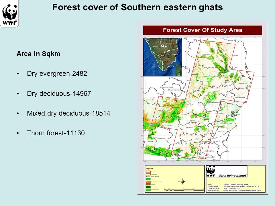 Forest cover of Southern eastern ghats