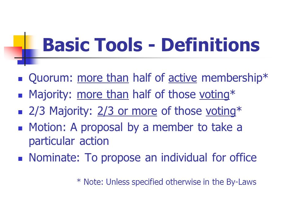 Basic Tools - Definitions