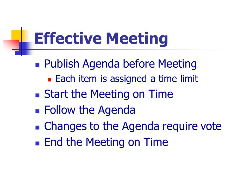 Effective Meeting Publish Agenda before Meeting