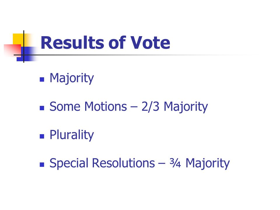 Results of Vote Majority Some Motions – 2/3 Majority Plurality