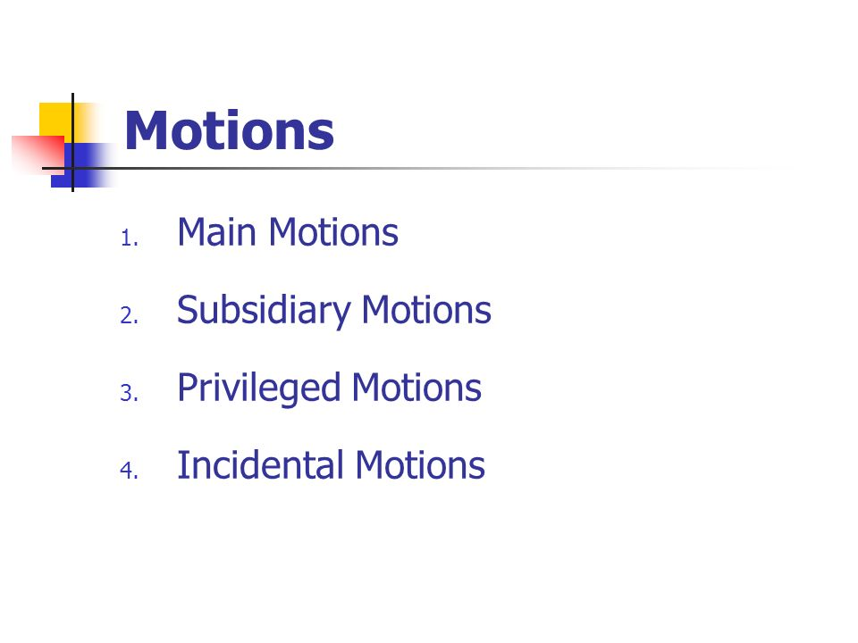 Motions Main Motions Subsidiary Motions Privileged Motions