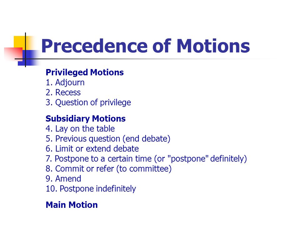 Precedence of Motions Privileged Motions 1. Adjourn 2. Recess 3. Question of privilege.