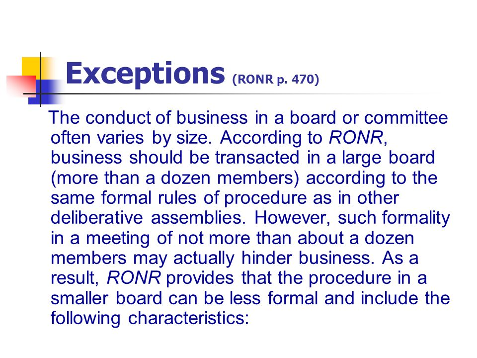 Exceptions (RONR p. 470)