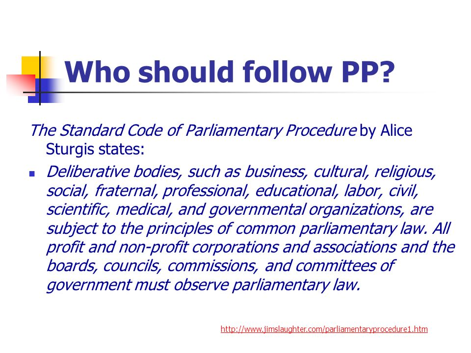 Who should follow PP The Standard Code of Parliamentary Procedure by Alice Sturgis states: