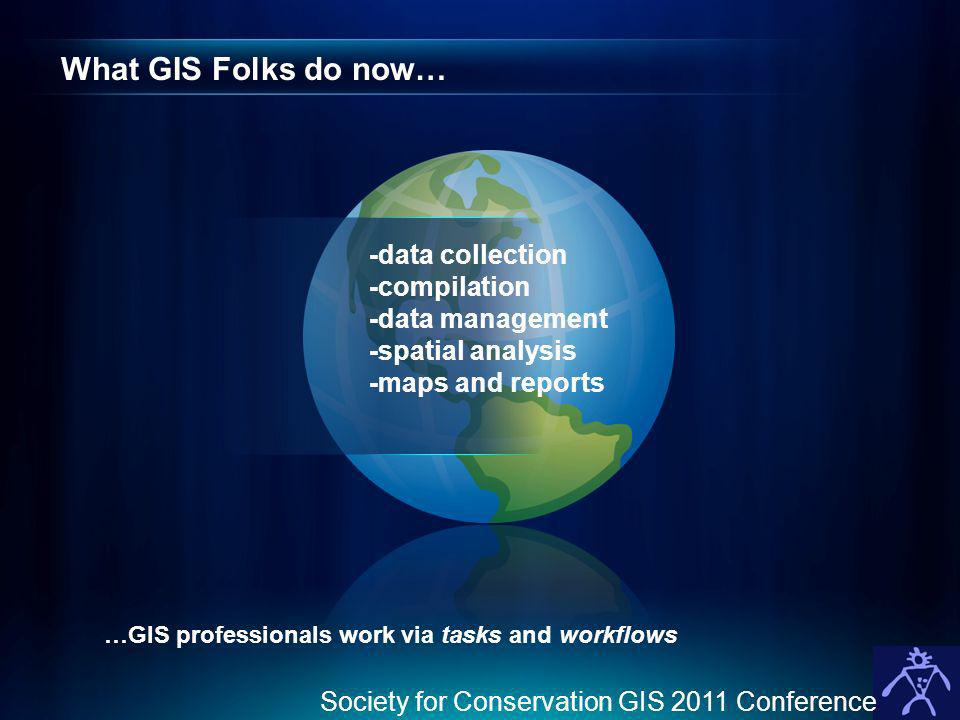What GIS Folks do now… -data collection -compilation -data management