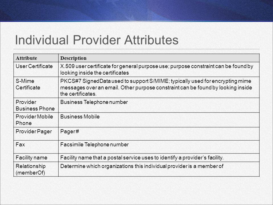 Individual Provider Attributes