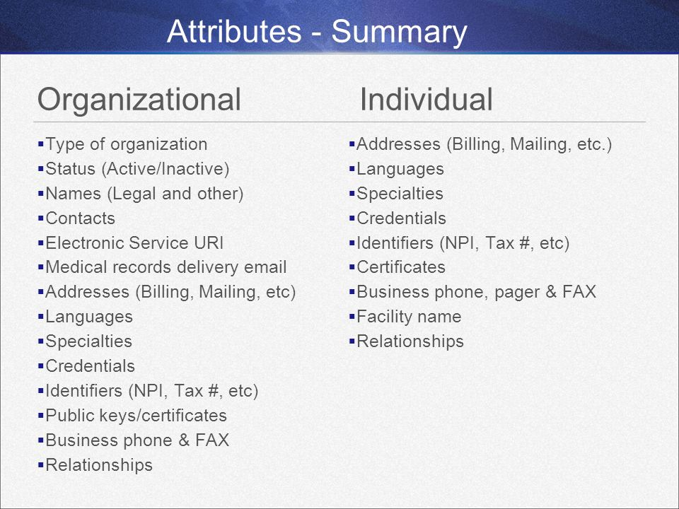 Attributes - Summary Organizational Individual Type of organization