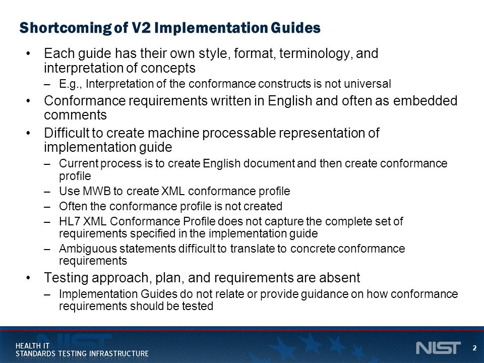 Shortcoming of V2 Implementation Guides