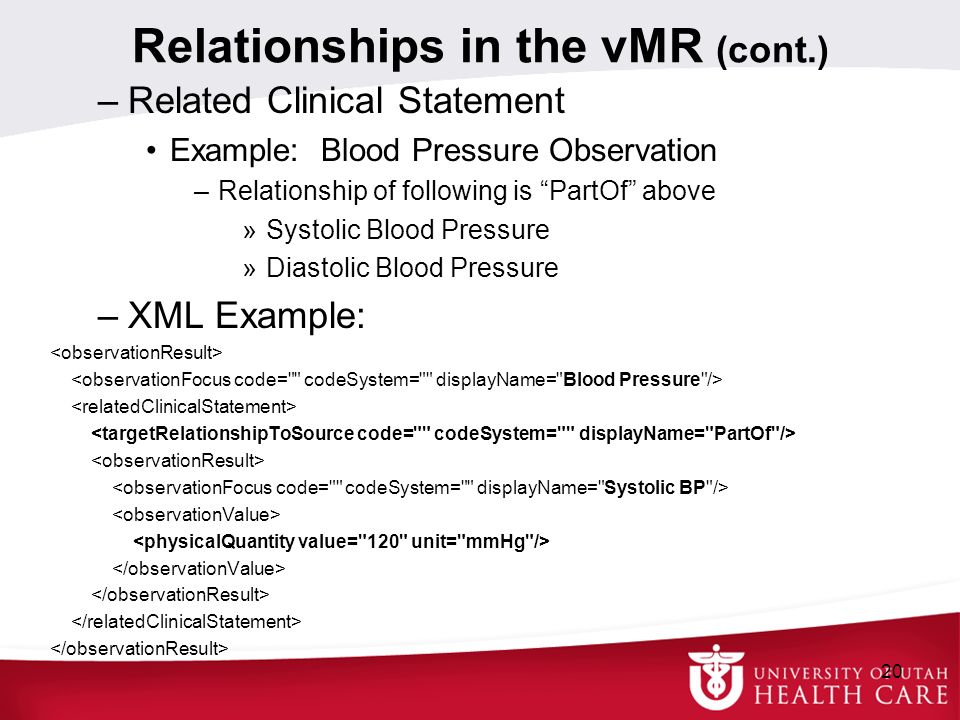 Relationships in the vMR (cont.)