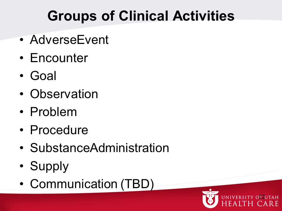 Groups of Clinical Activities