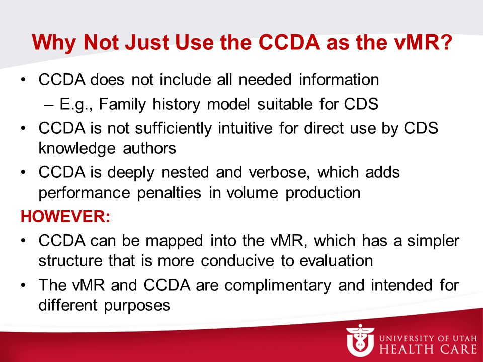 Why Not Just Use the CCDA as the vMR